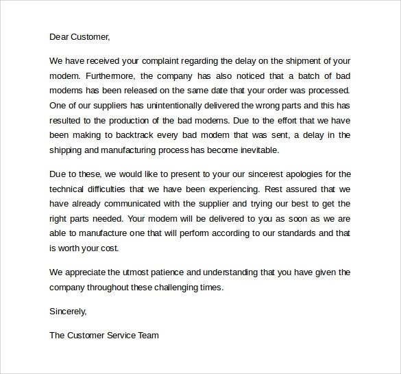 letter of apology to customer - Onwebioinnovate