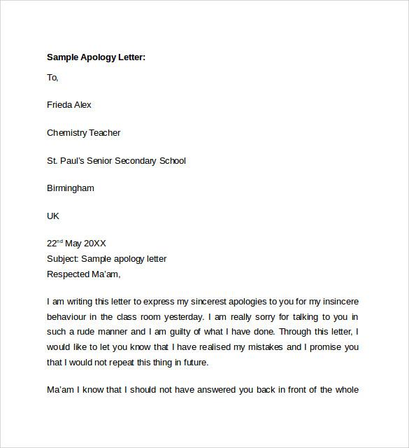 Sample apology letter to teacher