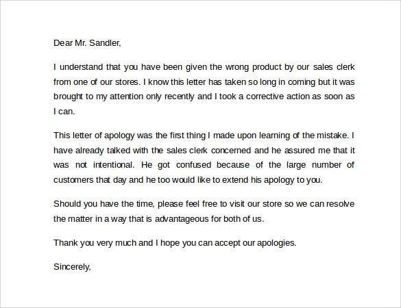 8+ Apology Letters to Customer Samples Sample Templates - letter of apology sample