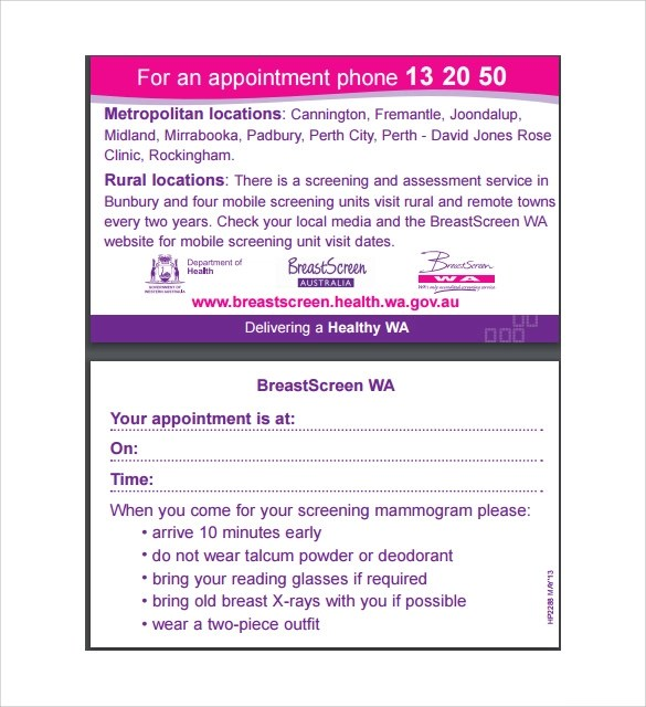 Sample Appointment Card - 8+ Sample, Example, Format - sample appointment card template