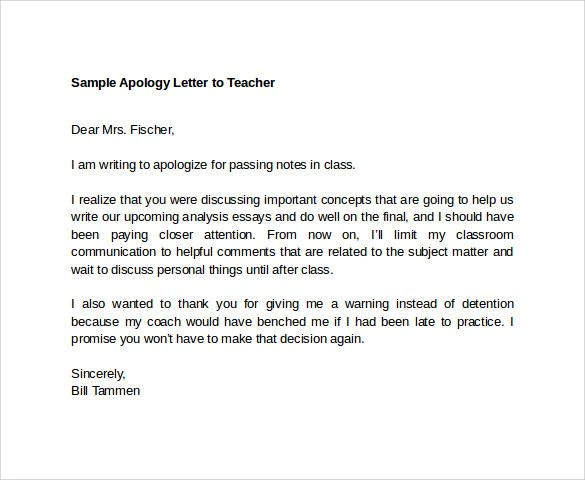 8 Apology Letters to Teacher to Download for Free Sample Templates - format of apology letter
