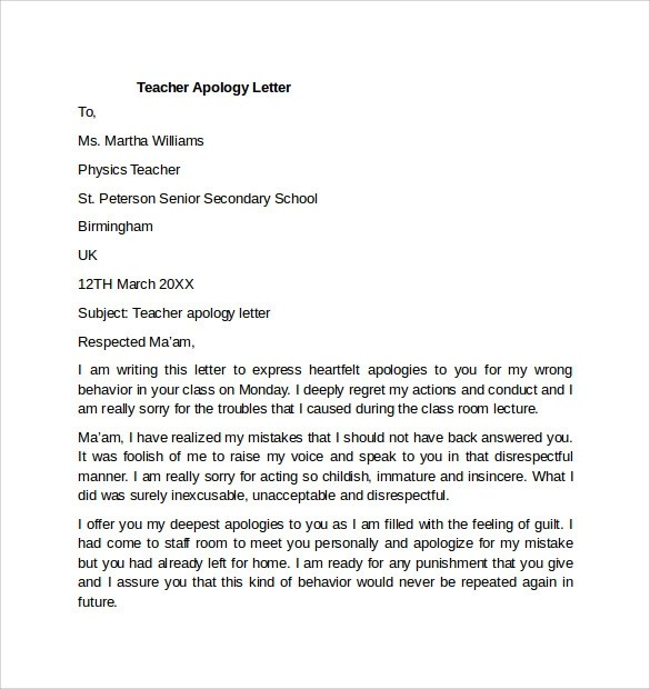 How to write an apology letter to a teacher Research paper Sample