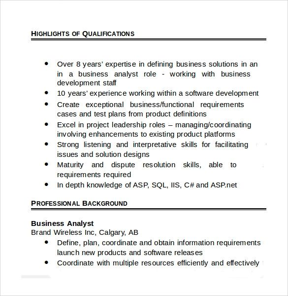 sample resume template for business analyst