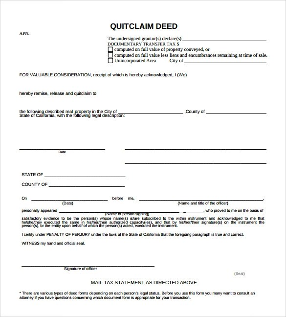 11+ Quitclaim Deed Forms \u2013 Samples, Examples  Format Sample Templates