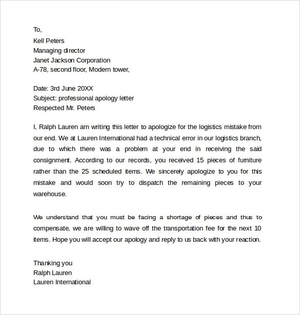 Cover Letter For Resume With Sample Cover Letter Format Sample Professional Apology Letter 10 Download Free