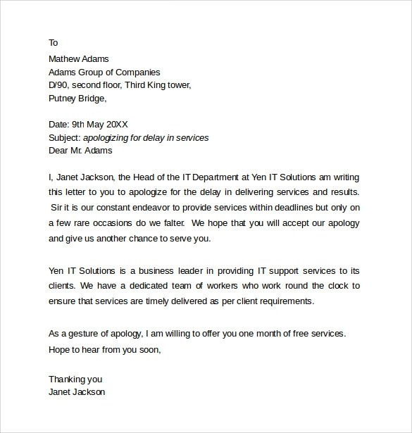 10 Professional Apology letters Download for Free Sample Templates