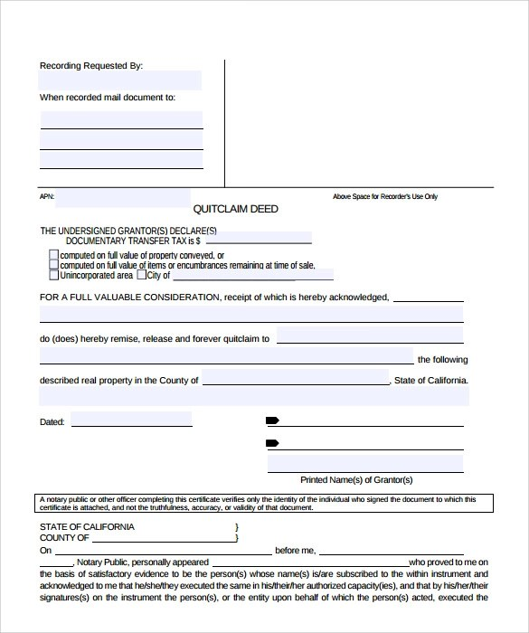 11+ Quitclaim Deed Forms \u2013 Samples, Examples  Format Sample Templates - Quick Claim Deed