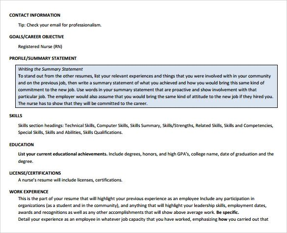 downloadable nursing resume template