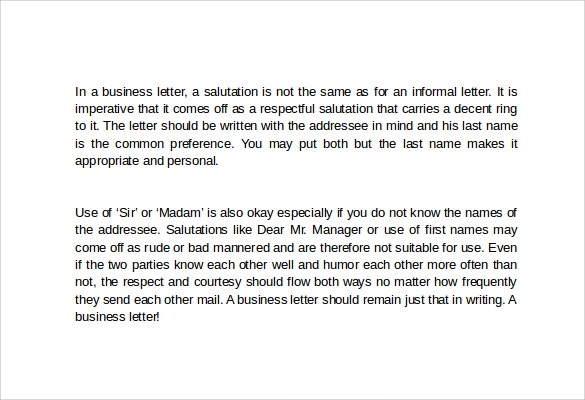 10 Useful Business Letters \u2013 Samples, Examples  Formats Sample - business letter salutation