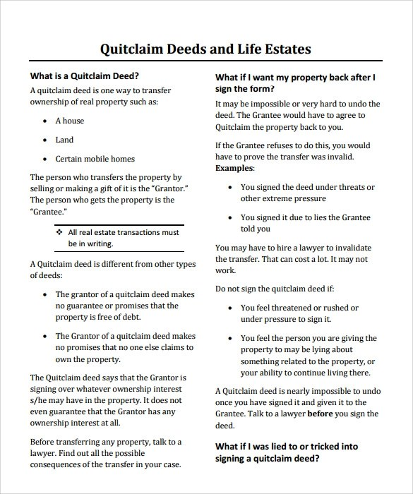 Quit Claim Deed Form oakandale - sample quitclaim deed form