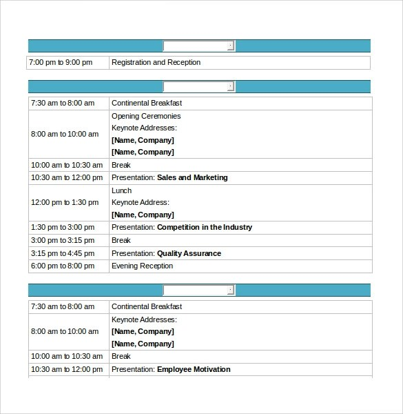 Sample Conference Schedule - 9+ Documents In PDF, Word