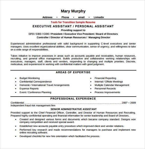 7+ Sample Executive Assistant Resumes Sample Templates