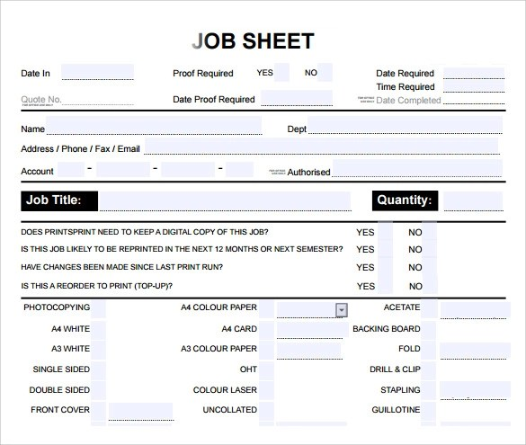9+ Sample Job Sheets Sample Templates