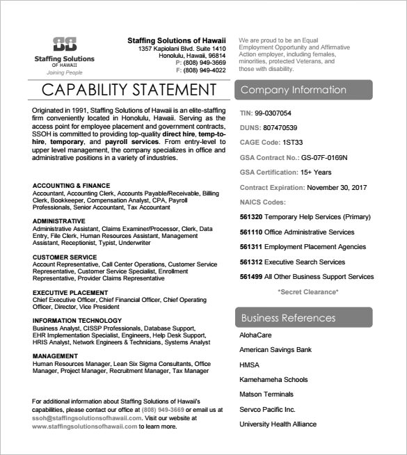 capability statement template word - Ozilalmanoof - statement form in doc