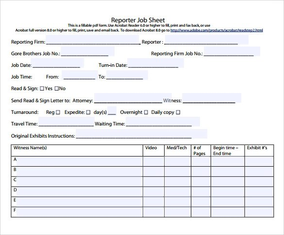9+ Sample Job Sheets Sample Templates - job sheet template free download