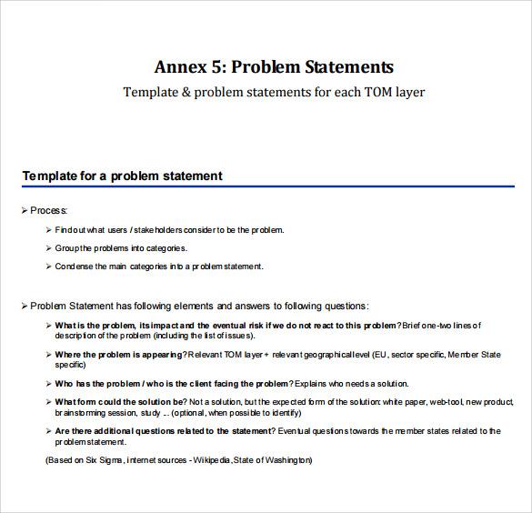 9+ Problem Statement Samples - PDF, Word