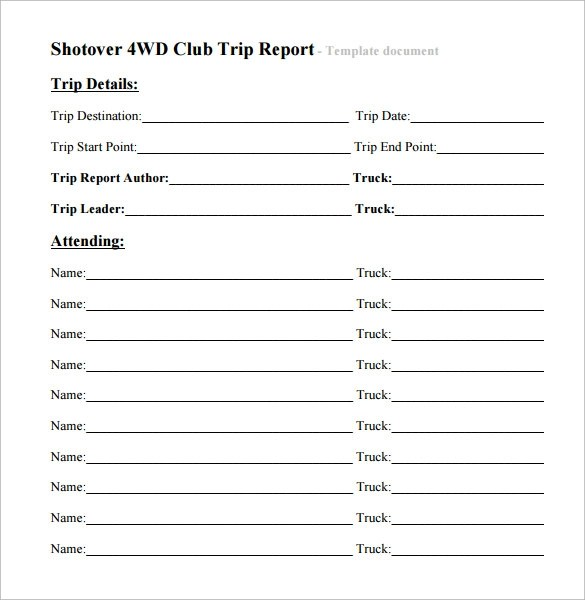 Doc12751650 Business Trip Report Format Doc12751650 Business – Business Trip Report Format
