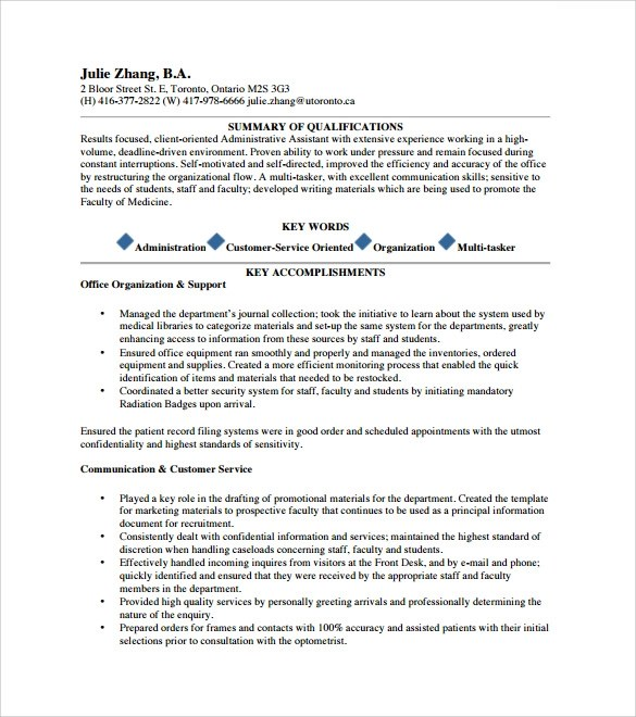 Sample Administrative Assistant Resume And Tips Sample Executive Assistant Resume 6 Examples Format