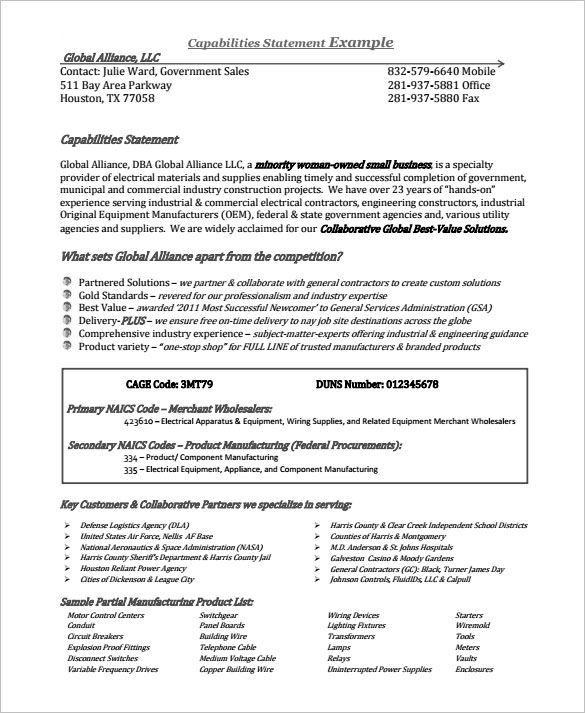 Example-Capability-Statement-Free-Templatejpg (585×713) Sample - event planner sample resume