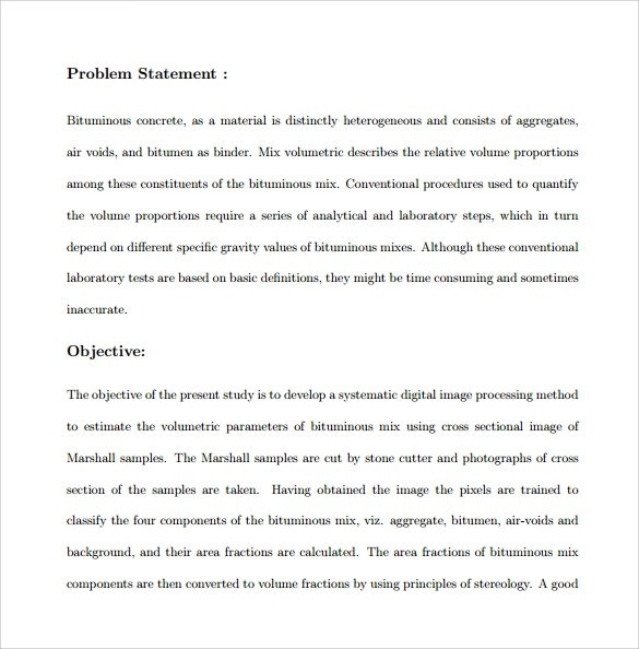 9+ Problem Statement Samples \u2013 PDF, Word Sample Templates - problem statement example