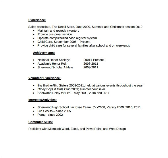 Just summary section in resume many