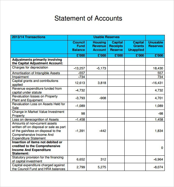 Bank Account Statement Template – Statement of Account Template Free