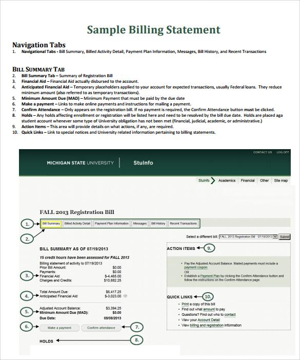 sample of billing statement letter