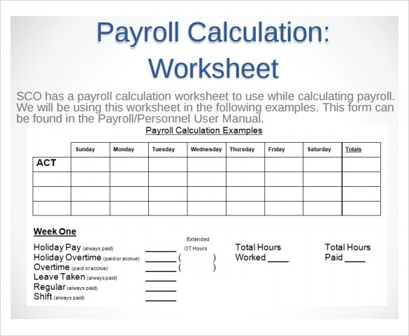 Sample Payroll Time sheet Calculator - 8+ Documents In PDF, Excel - sample payroll timesheet