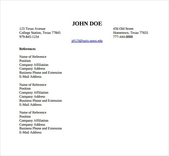 How To Make Professional Reference List | Profesional Resume For