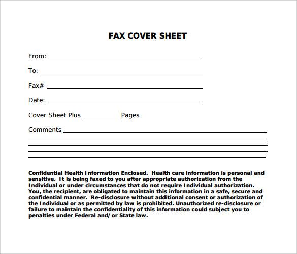 Sample Standard Fax Cover Sheet \u2013 11+ Documents in Word, PDF