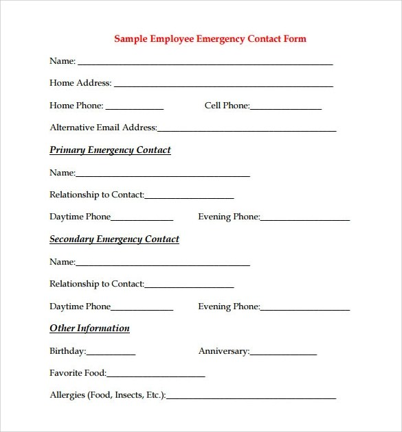 10 Sample Employee Form Templates to Download for Free Sample - free contractor forms templates