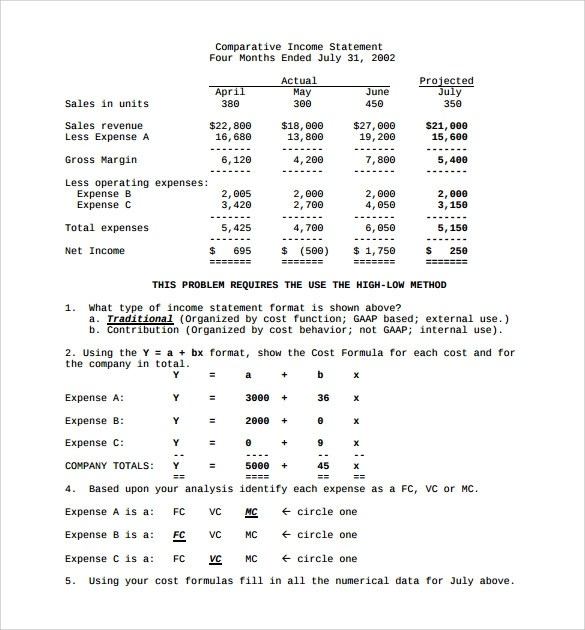 Nice Sample Contribution Income Statement Multi Step Income Statement Sample  Simple Income Statement .