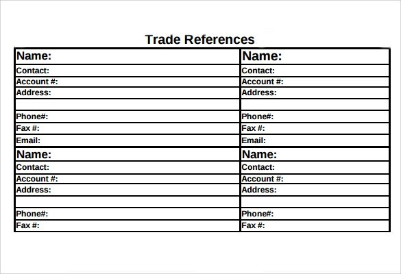 Sle Trade Reference 5 Documents In Pdf ~ Trade Reference Template