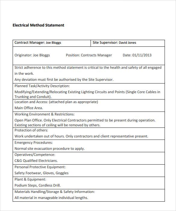 method statement template datariouruguay