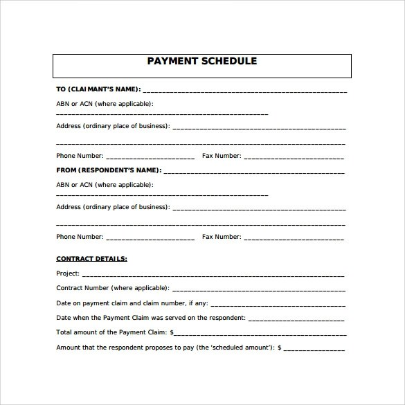 16+ Payment Schedule Samples Sample Templates