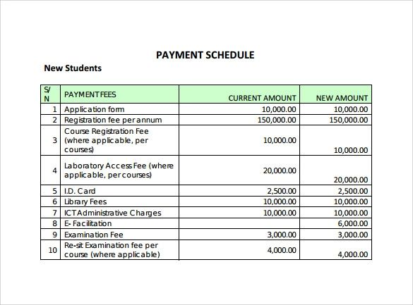payment schedule template free