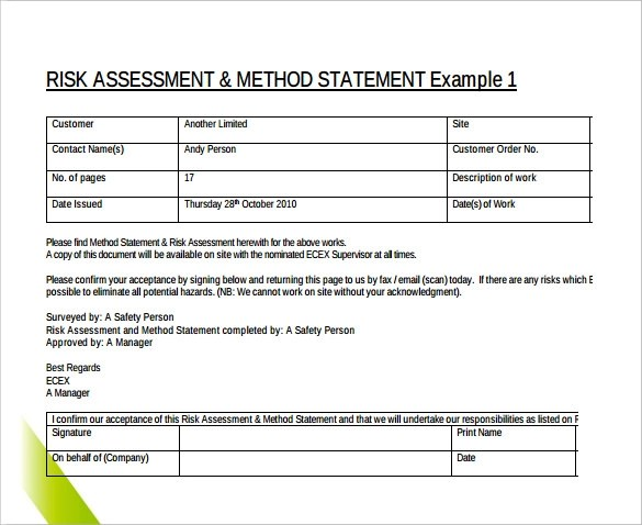 Method Statement Template  9  Method Statement Templates