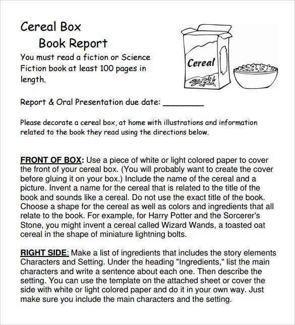 12 Cereal Box Book Report Templates \u2013 Samples, Examples  Formats