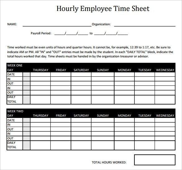 Payroll Timesheet Calculator  Resume Template Sample