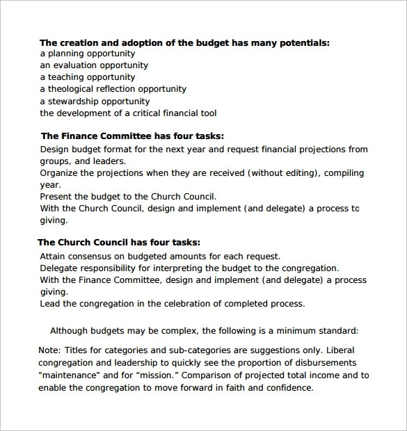 church budget template example – Church Budget Template Example