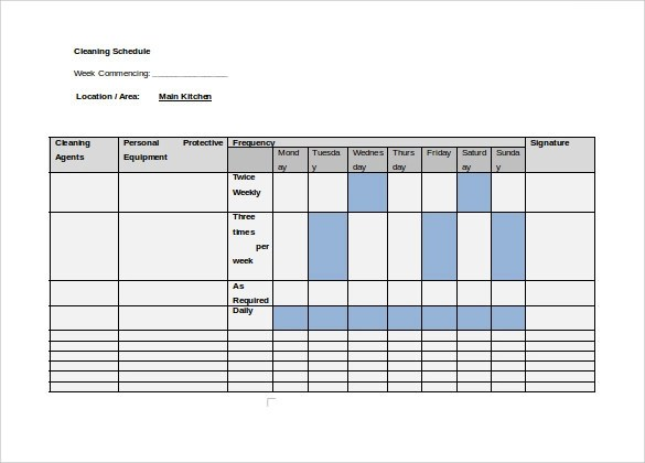 9+ Cleaning Schedule Samples Sample Templates - sample cleaning schedule template