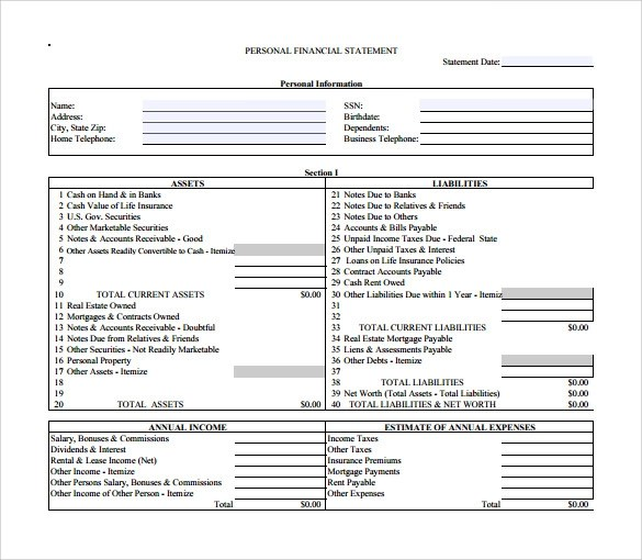 Personal Financial Statement - 11+ Documents In PDF, Word - personal value statement examples