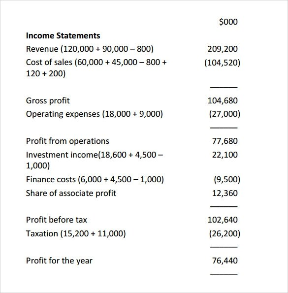 basic income statement example - Gottayotti