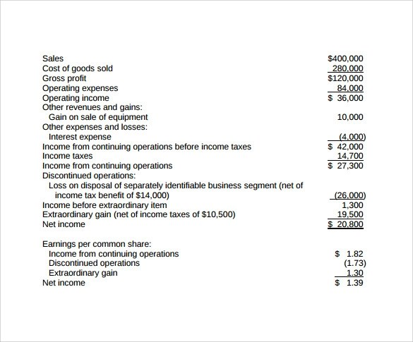 Income Statement Example Income Statement Sample Income Statement