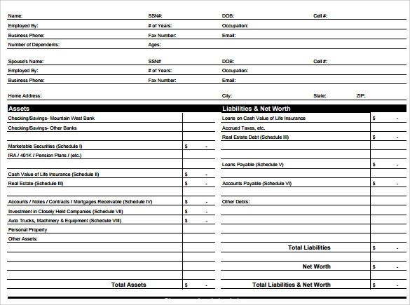 business financial statement sample