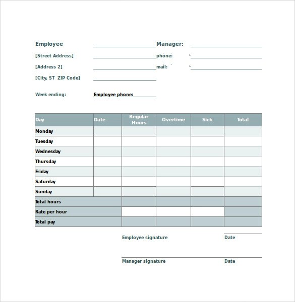 Employee Timesheet Calculator - 10 + Samples , Examples \ Formats - sample payroll timesheet