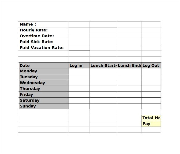 Timesheet Template Library Weekly Biweekly Montlhy Employee Timesheet Calculator 10 Samples Examples