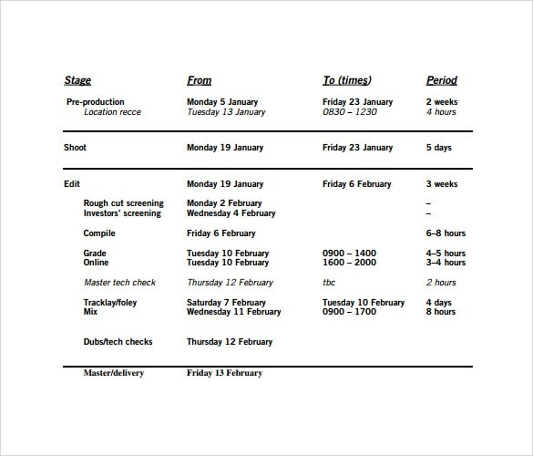 11+ Sample Production Schedule Templates Sample Templates - sample production schedule template