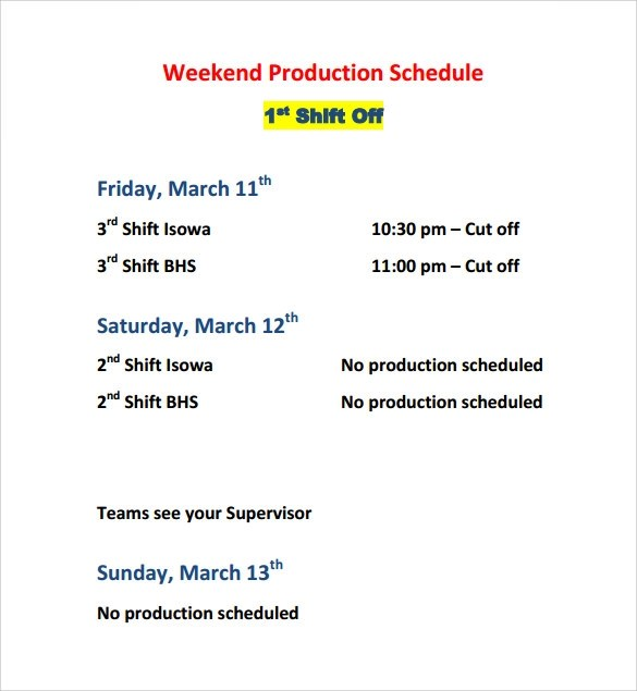 11+ Sample Production Schedule Templates Sample Templates