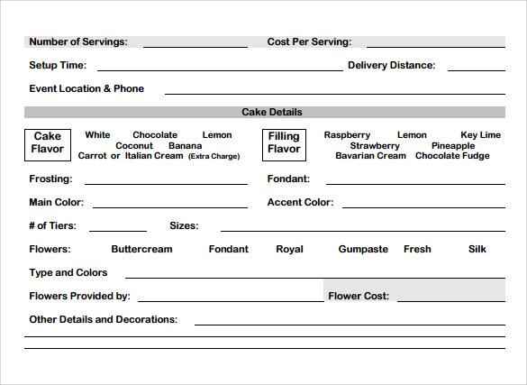 Cake Order Form Template - Costumepartyrun